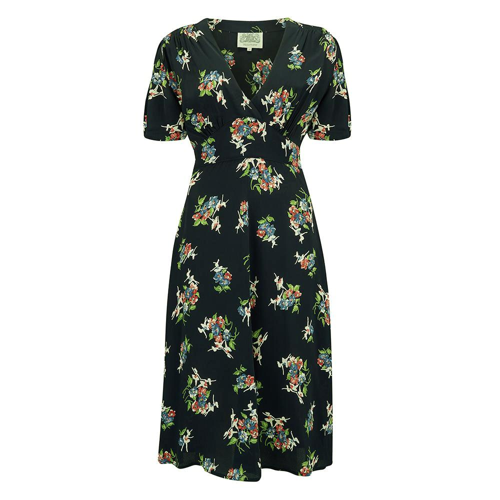 """Dolores"" Swing Dress in Black Floral Dancer, A Classic 1940s Inspired Vintage Style the seamstress of bloomsbury"