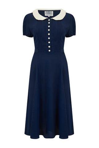 """Dorothy"" Dress in Navy with Contrast Collar, Classic 1940s Vintage Style"