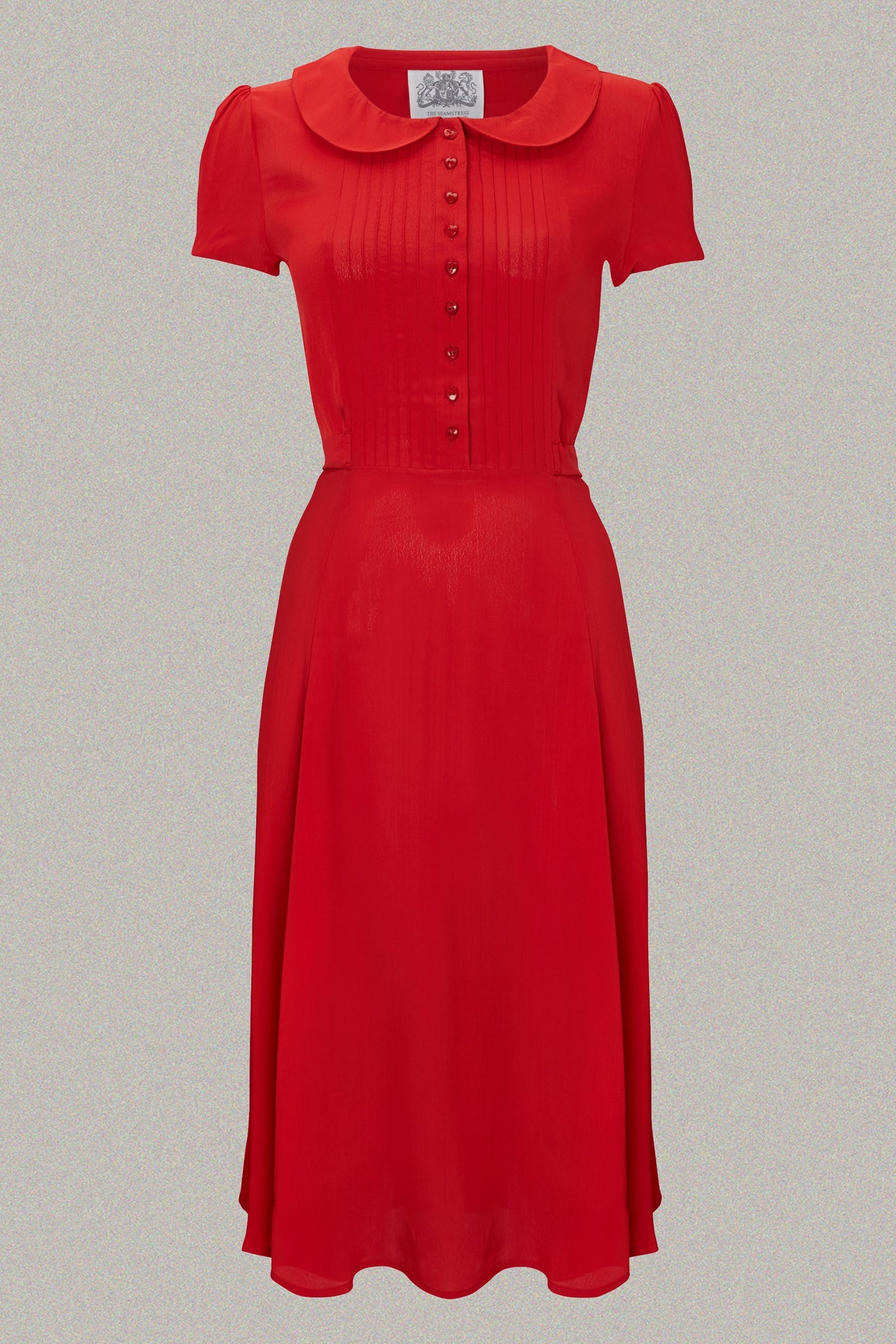 "The Seamstress Of Bloomsbury ""Dorothy"" Swing Dress in Pilliar Box Red, A Classic 1940s Inspired Vintage Style - RocknRomance Clothing"