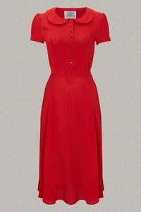 """Dorothy"" Swing Dress in Pilliar Box Red made by The Seamstress of Bloomsbury, A Classic 1940s Inspired Vintage Style"