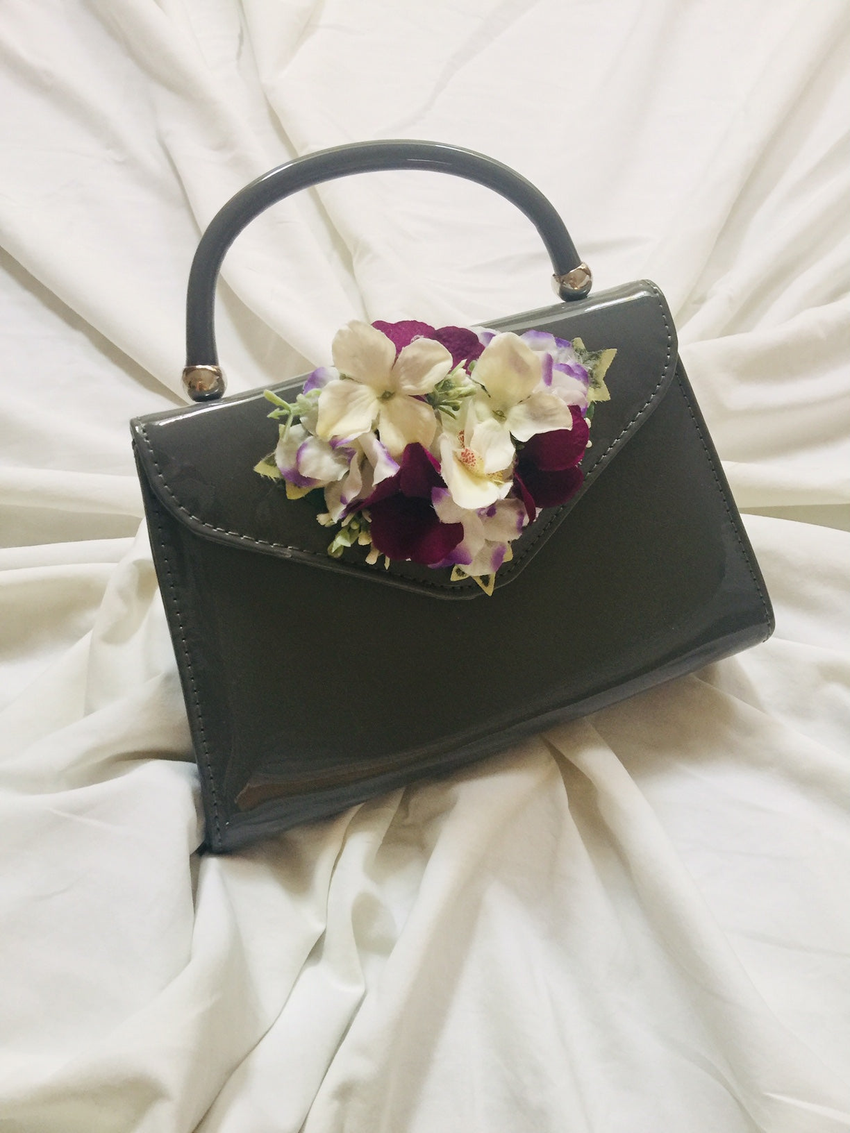 Vintage Inspired Betty Hand Bag In Grey 1940s 1950s