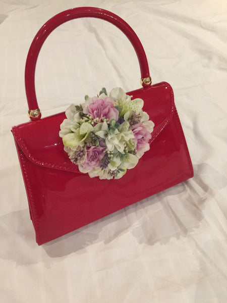 Classic Bags In Bloom Vintage Inspired Betty Hand Bag In Red - RocknRomance Clothing
