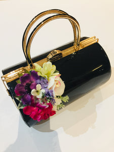 Classic Bags In Bloom Vintage Inspired Emma Barrel Hand Bag in Black - RocknRomance Clothing
