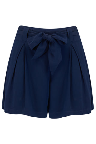 The Seamstress Of Bloomsbury Emma vintage styled Tap Shorts in Navy - RocknRomance Clothing