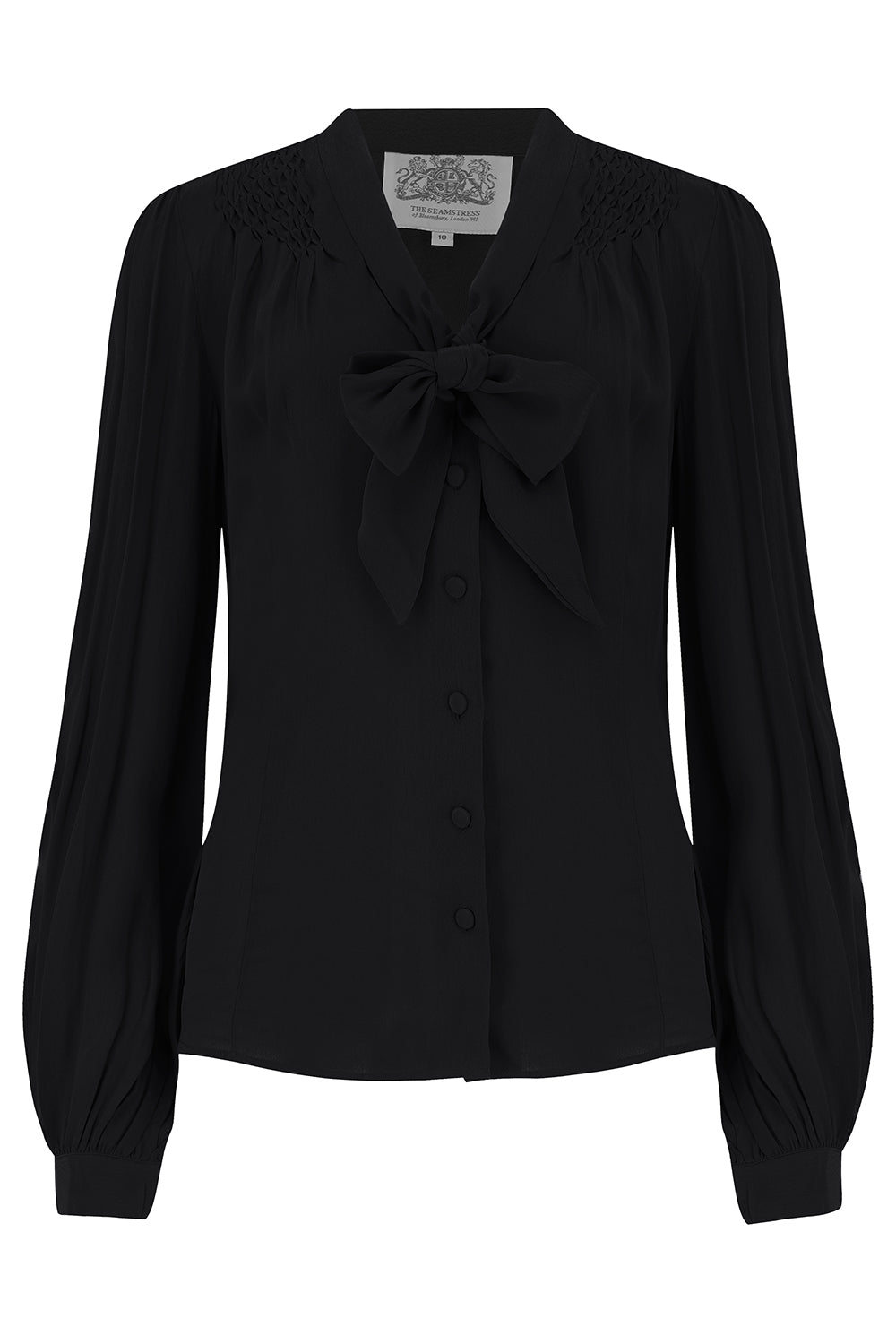 Eva Long Sleeve Blouse in Solid Black, Authentic & Classic 1940s Vintage Style