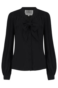The Seamstress Of Bloomsbury Eva Long Sleeve Blouse in Solid Black, Authentic & Classic 1940s Vintage Style - RocknRomance Clothing