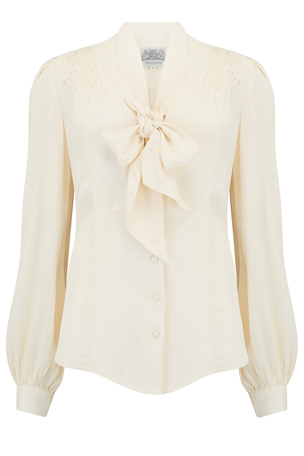 Eva Long Sleeve Blouse in Cream, Authentic & Classic 1940s Vintage Style