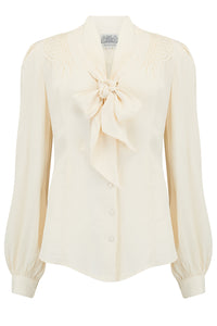 The Seamstress Of Bloomsbury Eva Long Sleeve Blouse in Cream, Authentic & Classic 1940s Vintage Style - RocknRomance Clothing