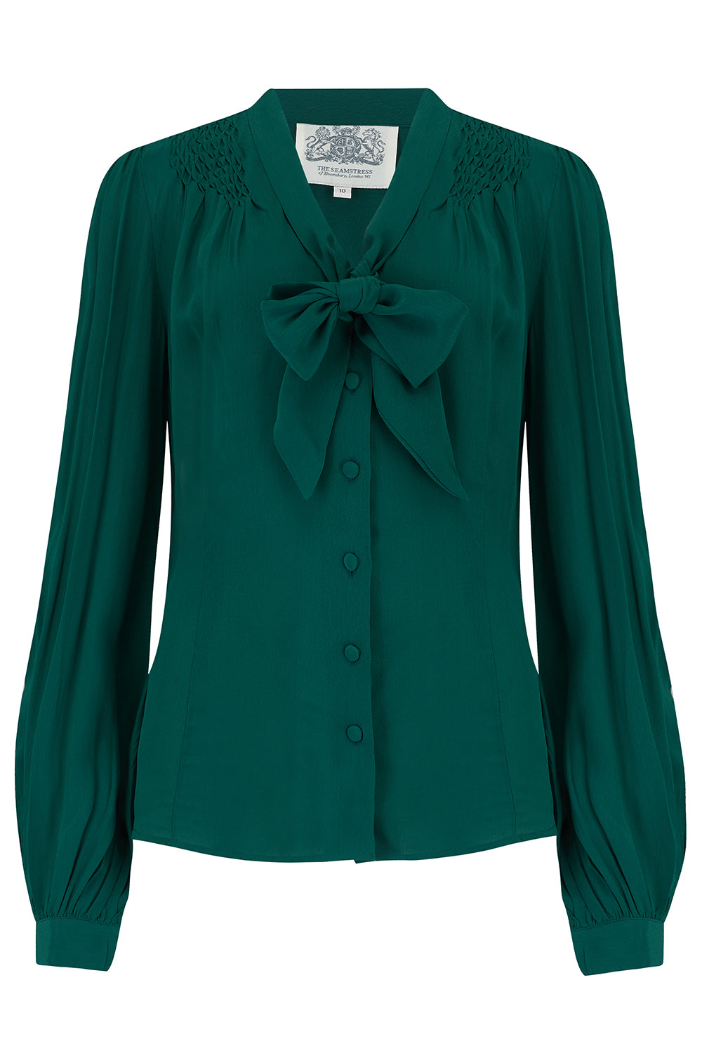 The Seamstress Of Bloomsbury Eva Long Sleeve Blouse in Solid Green, Authentic & Classic 1940s Vintage Style - RocknRomance Clothing