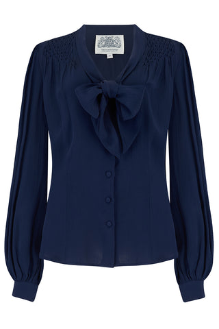 The Seamstress Of Bloomsbury Eva Long Sleeve Blouse in Solid Navy, Authentic & Classic 1940s Vintage Style - RocknRomance Clothing