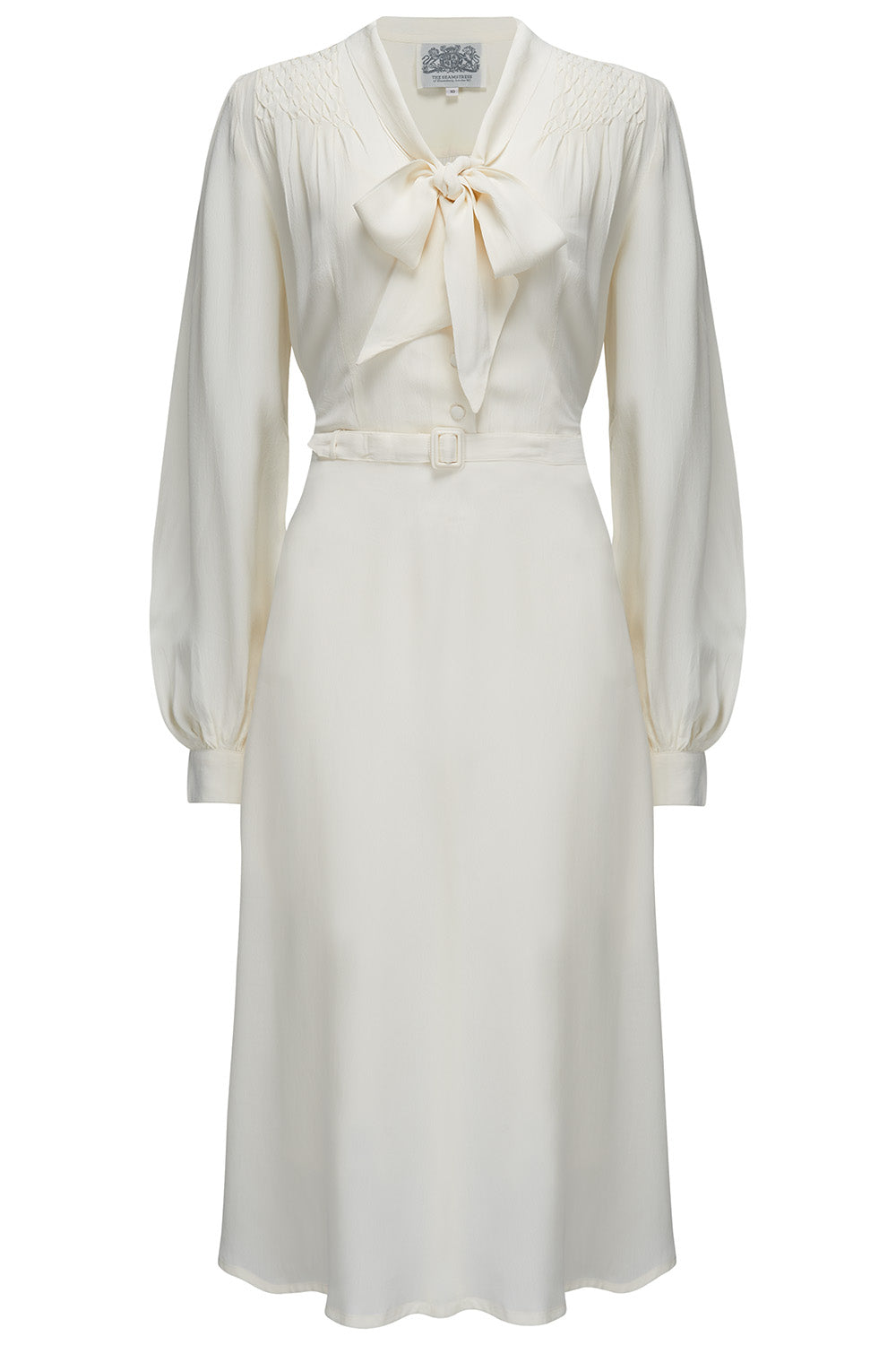 1940s Style Wedding Dresses | Classic Wedding Dresses Eva Dress in Cream  Classic 1940s Style Long Sleeve Dress with Pussy Bow Tie Neck £89.00 AT vintagedancer.com