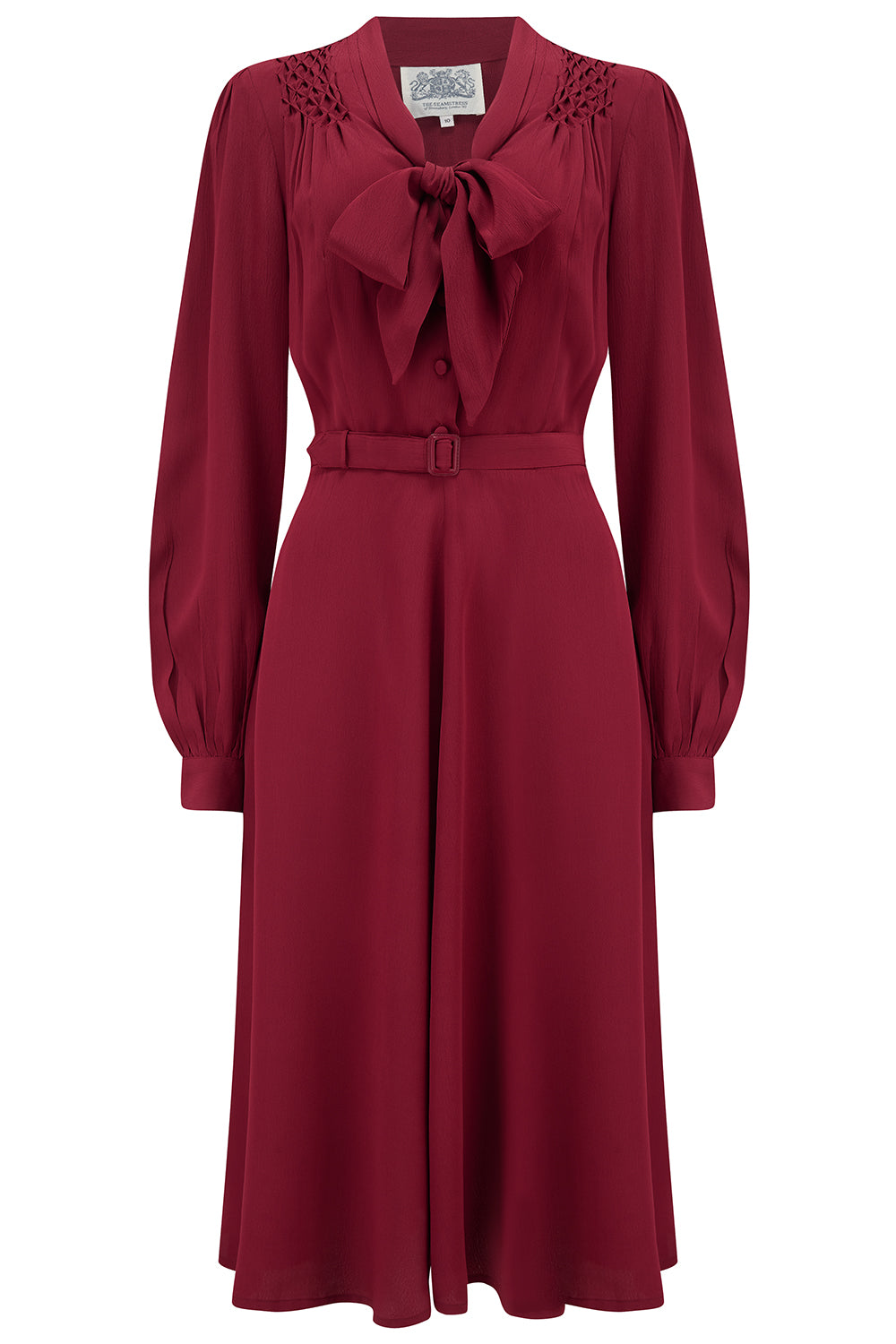 1940s Dress Styles Eva Dress in Solid Wine  Classic 1940s Style Long Sleeve Dress with Tie Neck £89.00 AT vintagedancer.com