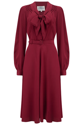 """Eva"" Dress in Solid Wine , Classic 1940's Style Long Sleeve Dress with Tie Neck - RocknRomance True 1940s & 1950s Vintage Style"