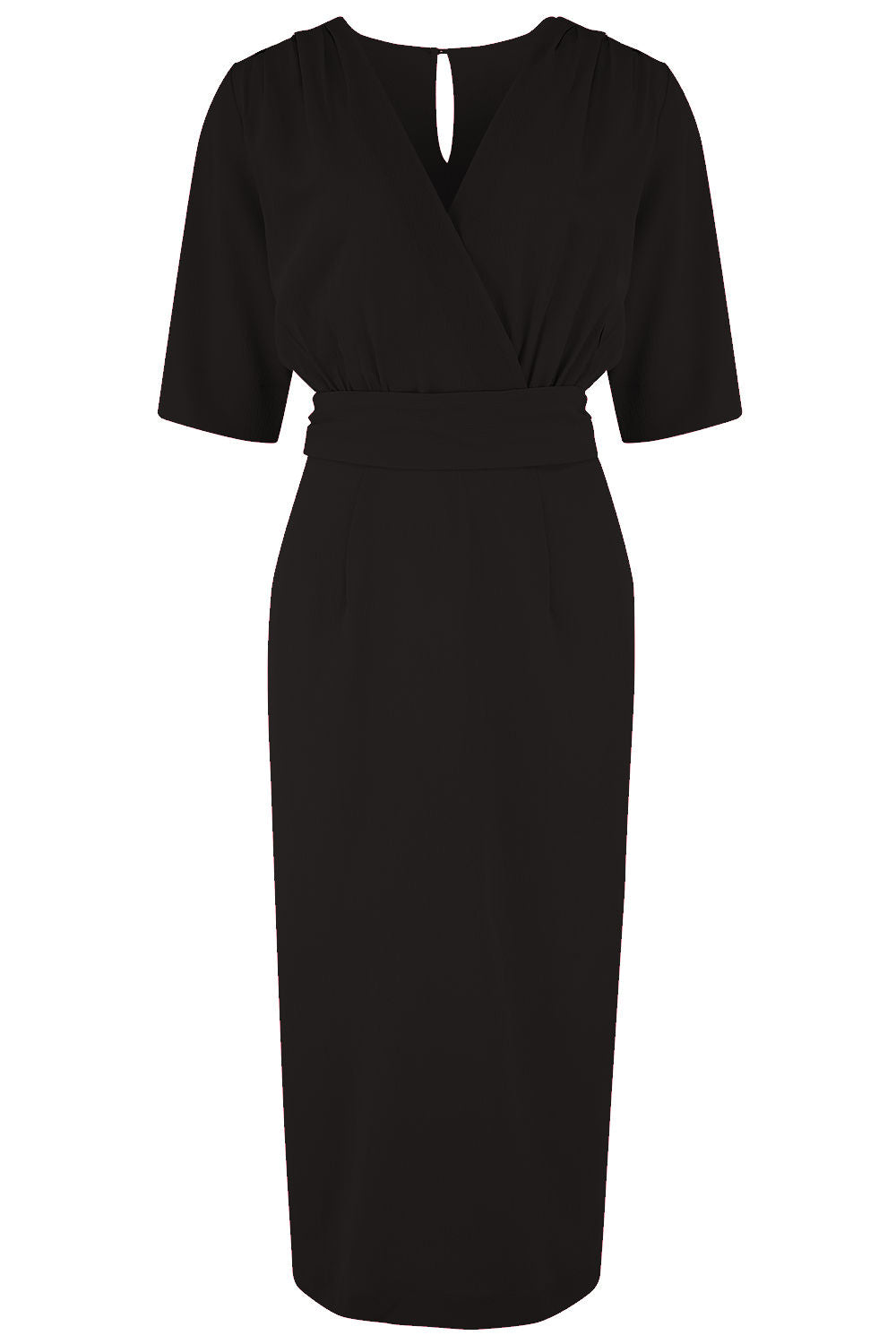 1950s Style Clothing & Fashion The Evelyn Wiggle Dress in Black True Late 40s Early 50s Vintage Style £49.00 AT vintagedancer.com