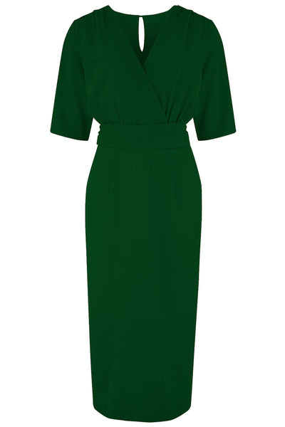 "Rock n Romance **Pre-Order** The ""Evelyn"" Wiggle Dress in Green, True Late 40s Early 50s Vintage Style - RocknRomance Clothing"
