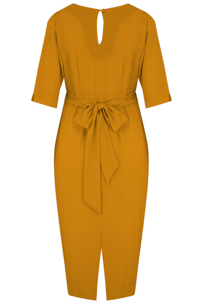 "Rock n Romance **Pre-Order** The ""Evelyn"" Wiggle Dress in Mustard, True Late 40s Early 50s Vintage Style - RocknRomance Clothing"