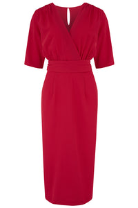"Rock n Romance The ""Evelyn"" Wiggle Dress in Red, True Late 40s Early 50s Vintage Style - RocknRomance Clothing"