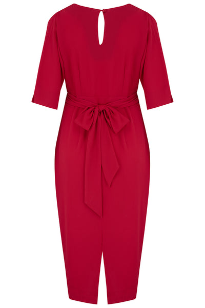 "Rock n Romance **Pre-Order** The ""Evelyn"" Wiggle Dress in Red, True Late 40s Early 50s Vintage Style - RocknRomance Clothing"