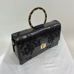 Classic Bags In Bloom Vintage Inspired Elegant Evie Handbag In Slate Black - RocknRomance Clothing