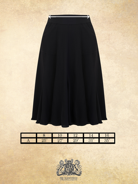 The Seamstress Of Bloomsbury Flare Skirt in Black, Authentic & Classic 1940's Vintage Inspired Style - RocknRomance Clothing