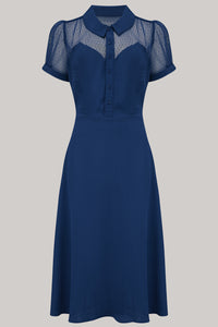 "The Seamstress Of Bloomsbury ""Florance"" Tea Dress in Navy with matching Red Lace upper, Authentic 1940s true vintage style - RocknRomance Clothing"