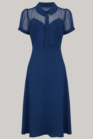"""Florance"" Tea Dress in Navy with matching Navy Lace upper, Authentic 1940s true vintage style - RocknRomance True 1940s & 1950s Vintage Style"