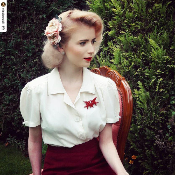 "The Seamstress Of Bloomsbury ""Grace"" Blouse in Cream, Authentic & Classic 1940s Vintage Style - RocknRomance Clothing"