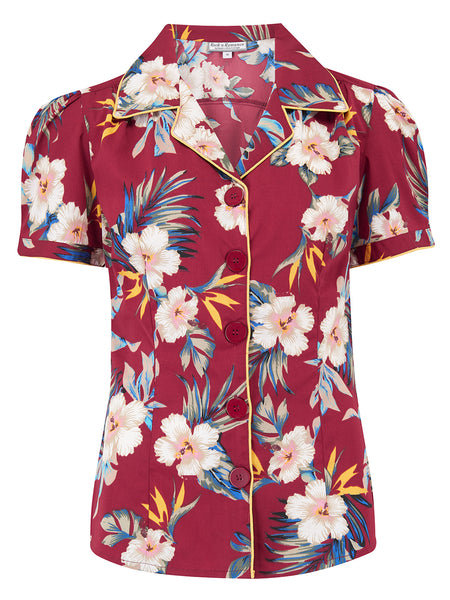 "Rock n Romance **Sample Sale** ""Grace Blouse"" in Wine Hawaiian, Authentic 1950s Vintage Pin Up & Rockabilly Style - RocknRomance Clothing"