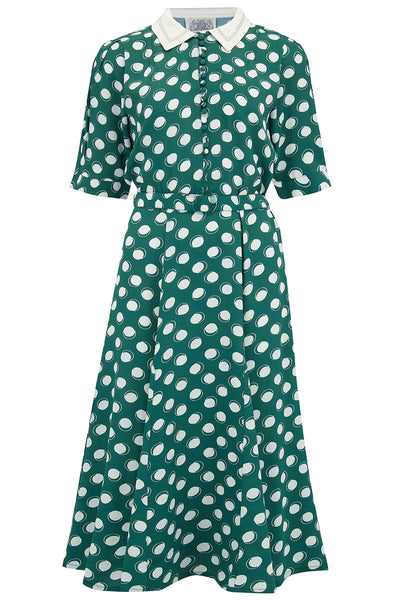 "Seamstress Of Bloomsbury ""Lucy"" Dress in Green Moonshine Spot, Authentic & Classic 1940s Vintage Inspired Style"