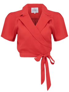 "The Seamstress Of Bloomsbury ""Greta"" Wrap Blouse in Red, Classic & Authentic 1940s Vintage Inspired Style - RocknRomance Clothing"