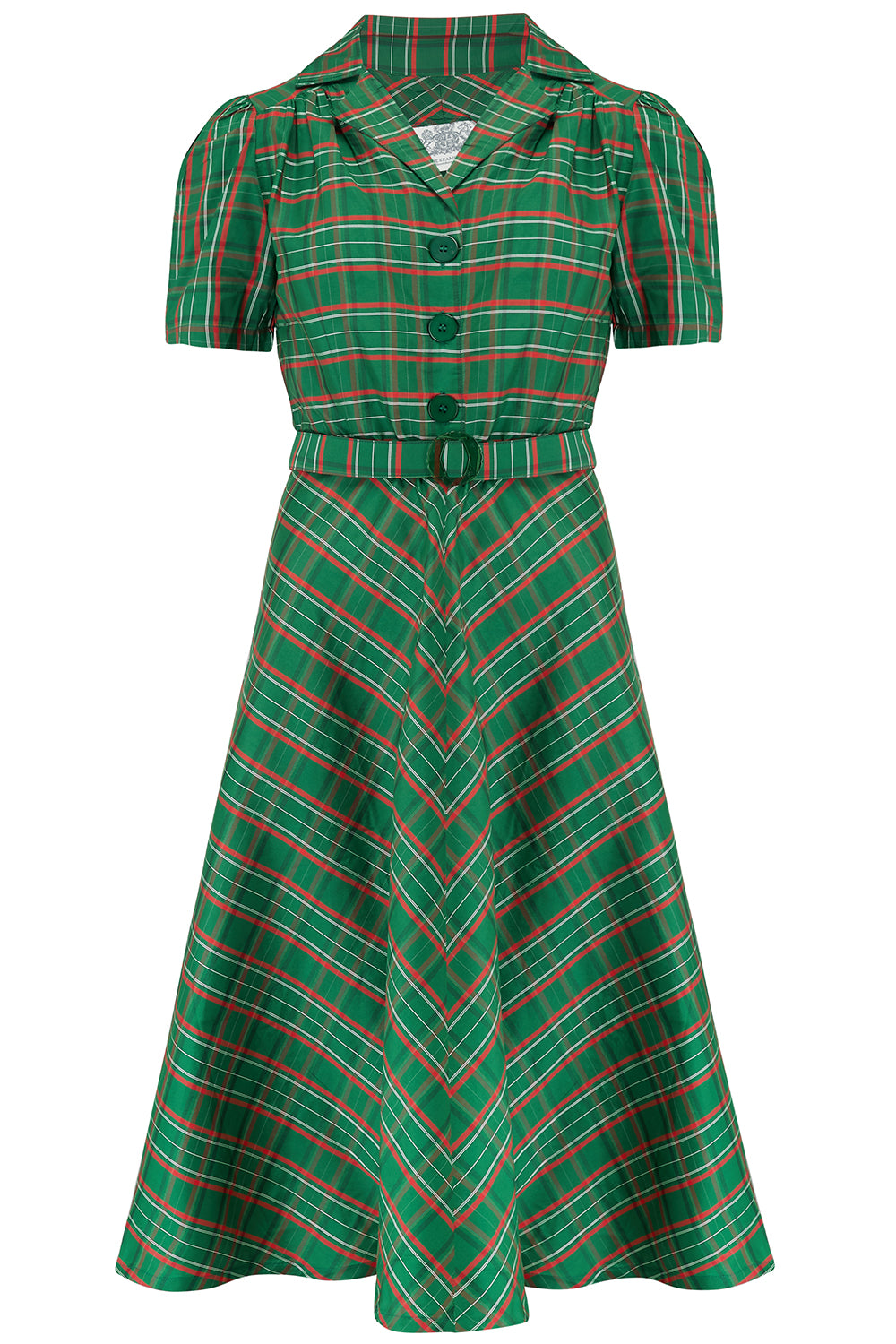 "The Seamstress Of Bloomsbury ""Lisa"" Tea Dress in Green Taffeta Tartan, Authentic 1940s Vintage Style - RocknRomance Clothing"