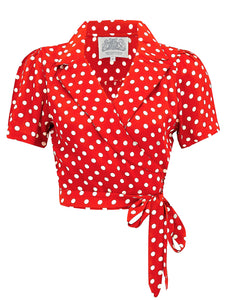 "The Seamstress Of Bloomsbury ""Greta"" Wrap Blouse in Red Polka Dot made by The Seamstress Of Bloomsbury, Classic 1940s Vintage Inspired Style - RocknRomance Clothing"