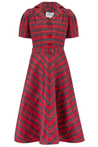 """Lisa"" Tea Dress in Red Taffeta Tartan, Authentic 1940s Vintage Style - RocknRomance True 1940s & 1950s Vintage Style"