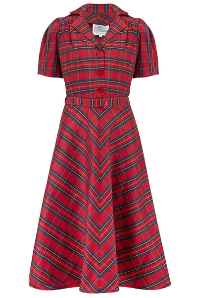 """Lisa"" Tea Dress in Red Taffeta Tartan, Authentic 1940s Vintage Style"