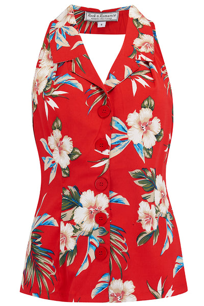 "Vintage ""Lindy"" Halter Blouse in RED Hawaiian Print, Perfect 1950s Style"