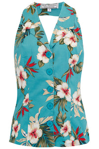 "Vintage ""Lindy"" Halter Blouse in TEAL Hawaiian Print, Perfect 1950s Style"