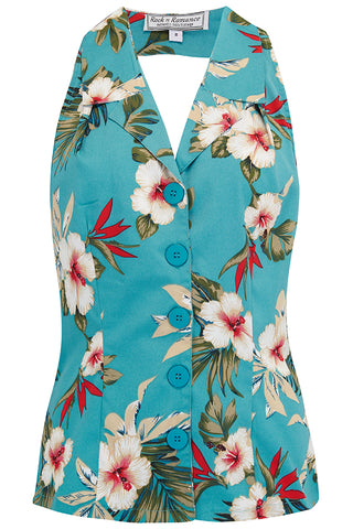 "Rock n Romance **Sample Sale** ""Lindy"" Halter Blouse in TEAL Hawaiian Print, Perfect 1950s Style - RocknRomance Clothing"