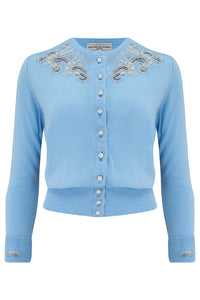 The Beaded Cardigan in Powder Blue, Stunning 1940s Vintage Style - RocknRomance True 1940s & 1950s Vintage Style