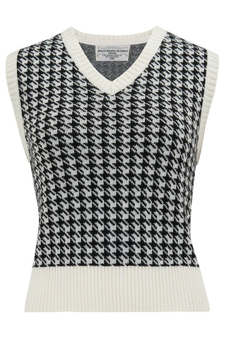 Cable Knit Slipover in Hounds Tooth, Stunning 1940s True Vintage Style - RocknRomance True 1940s & 1950s Vintage Style