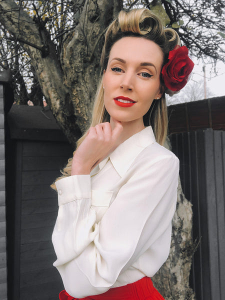 The Seamstress Of Bloomsbury Jacqui Blouse in Egret , Classic 1940s Vintage Inspired Style Day Blouse - RocknRomance Clothing