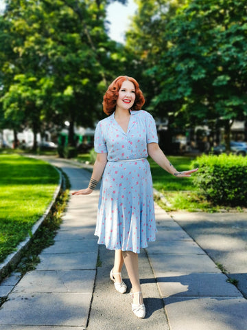 """Lisa Fit & Flare"" Tea Dress in Powder Blue Rose Print, Authentic 1940s Vintage Style - RocknRomance True 1940s & 1950s Vintage Style"