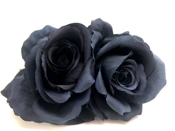 Vintage Double Rose Hair Flower In French Navy - RocknRomance True 1940s & 1950s Vintage Style
