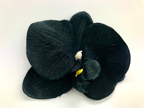 Paula's Vintage Millinery Vintage Black Single Orchid Hair Flower - RocknRomance Clothing