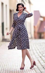 "The Seamstress Of Bloomsbury ""Loretta"" Wrap Tea Dress in Navy Moonshine Spot, Classic 1940s Vintage Style - RocknRomance Clothing"