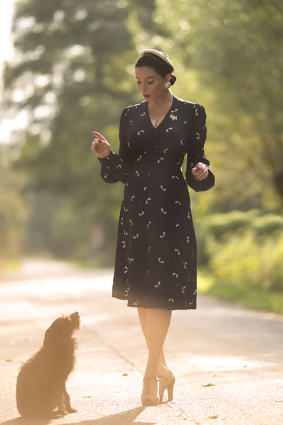 """Ava"" Dress in Navy Doggy Print, Classic 1940's Style Long Sleeve Dress - RocknRomance True 1940s & 1950s Vintage Style"
