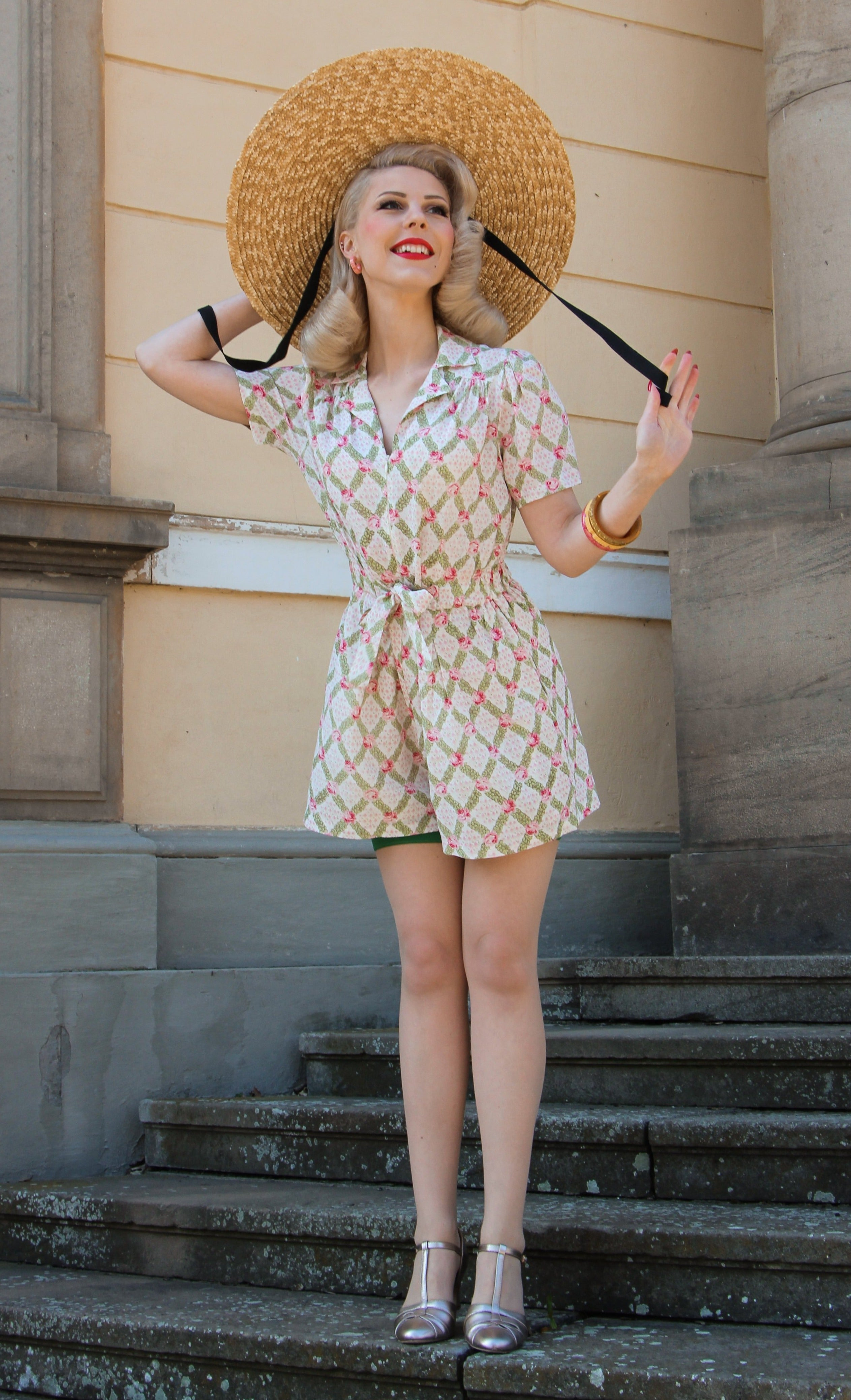 40s-50s Vintage Playsuits, Jumpsuits, Rompers History Emma Playsuit by The Seamstress of Bloomsbury Classic 1940s Vintage Style £79.00 AT vintagedancer.com