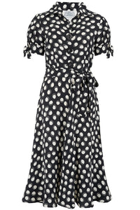 """Iris"" Tea Dress in Black Moonshine Print, Classic & Authentic 1940s Style at its Best"