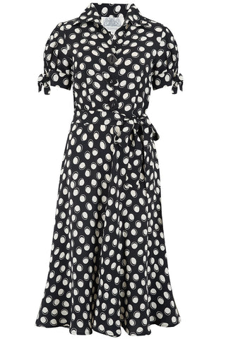 "The Seamstress Of Bloomsbury ""Iris"" Tea Dress in Black Moonshine Print, Classic & Authentic 1940s Style at its Best - RocknRomance Clothing"