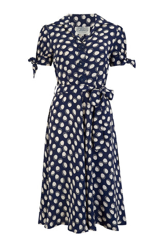 "The Seamstress Of Bloomsbury ""Iris"" Tea Dress in Navy Moonshine Print, Classic & Authentic 1940s Style at its Best - RocknRomance Clothing"
