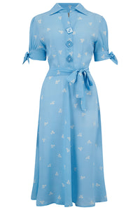 "The Seamstress Of Bloomsbury ""Iris"" Tea Dress in Sky Blue Bow Print, Classic & Authentic 1940s Style at its Best - RocknRomance Clothing"